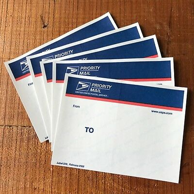 5 USPS PRIORITY Mail Labels 228 blue top RARE Graffiti stickers 228  obsolete 06