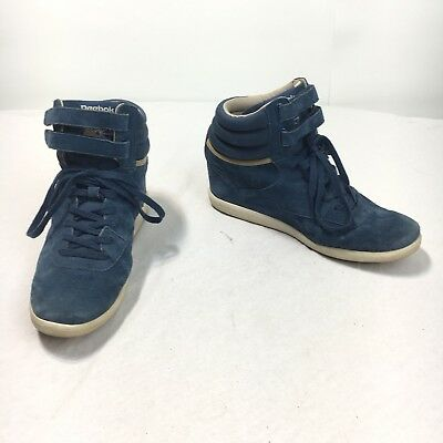 a6567eb0 REEBOK CLASSIC WOMEN'S 11 Blue Suede Leather High Top Hidden Heel Sneaker  Shoes