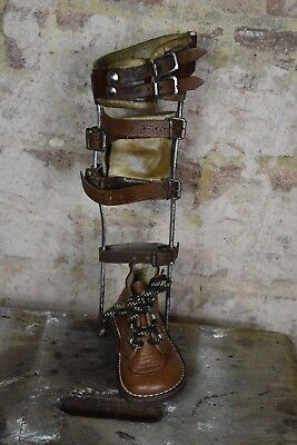 Antique Vintage Child's Medical Hospital Polio Braces Caliper Disability brown