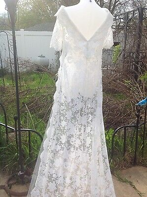 Vintage 1940's Or 1950's Bodice Long Lace Train Wedding Dress Rare White SZ 6-8