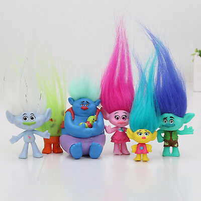 6pcs Trolls Movie Figure Toy Doll Collection Cute Playset Kid Gift 3-7cm Height