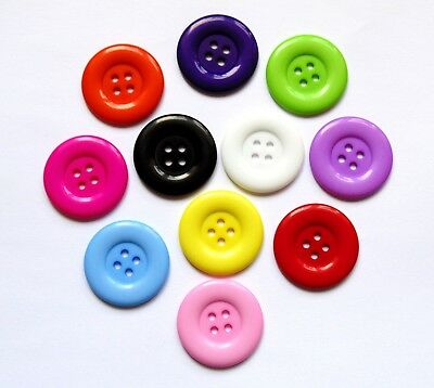 10 x 35mm Large Round 4 Holed Buttons - Sewing Big Knitting Crochet Craft