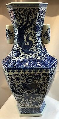 Chinese Blue White Antique Vase With Dragon Phoenix And Flowers Around 22""