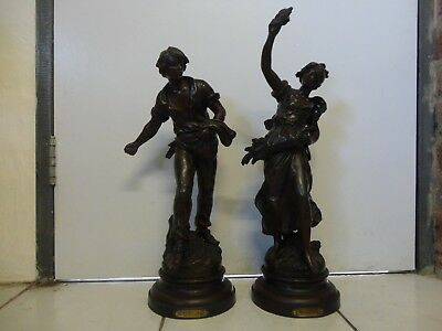 2 antique French Spelter Figures/statues