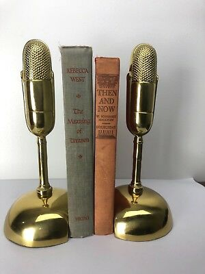 Brass Microphone Book Ends Bookends Vintage Regency Musical Retro Metalwork Rare