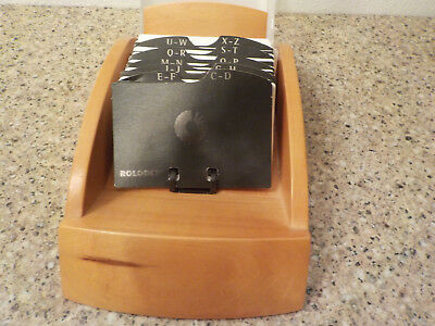 """Rolodex with Cover Holds 2.5"""" x 4"""" Cards  Wood with Frosted Cover"""