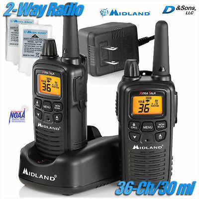 NEW Midland 36-Channel 30-Mile FRS/GMRS 2/Two-Way Radio Walkie Talkie w/NOAA