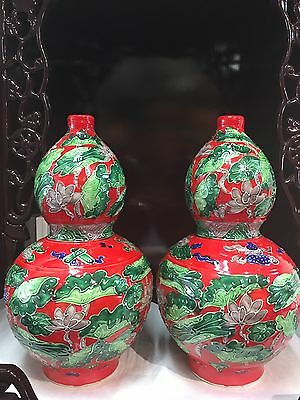 Chinese Vase Red And Green Hand Made Duck Swimming With Lotus Flowers