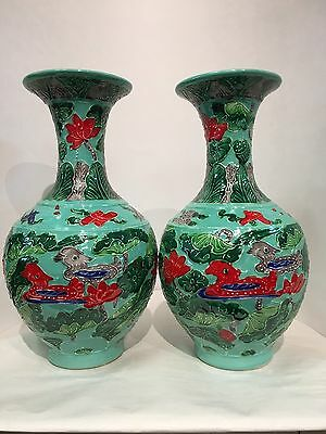 Chinese Vintage Green Vase Hand Made Hand Painted Duck And Lotus Flowers