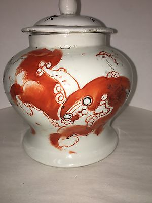 Chinese Antiques Rare Foo Dog Foo Lion Jar 8 Inch With Government Stamps