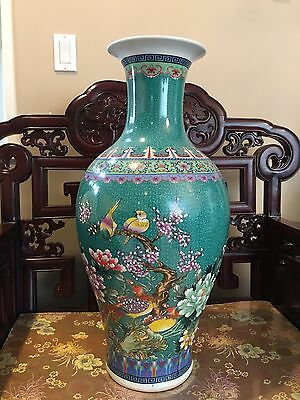 CHINESE ANTIQUE VASE GREEN LARGE BIRDS PHOENIX RESTING ON TREE 26x12.5 AROUND