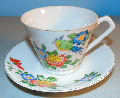 Beautiful Occupied Japan Tea Cup & Saucer w Colorful Song Bird Amid Flowers
