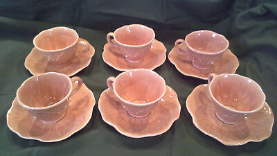 set of 6 Lotus Poppytrail Metlox peach apricot coffee tea cup and saucers