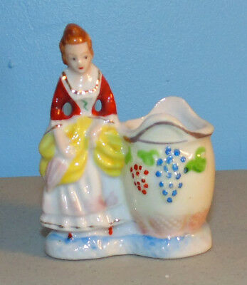 Beautiful Occupied Japan English Colonial Style Lady Toothpick Holder Figurine