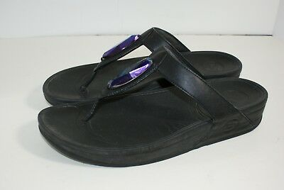 24183774e5387a Fit Flop Women s Size 11 M Black Wedge Sandals Bead Embellished Shoes 364- 001