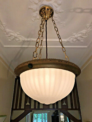 Original ART DECO Frosted Ceiling Light Complete