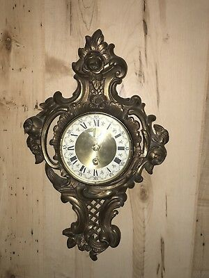 ANTIQUE/VINTAGE Beautiful BRASS 8 DAY Clock Rare. Made In Germany.