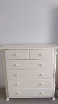 lemon timber chest of 6 drawers with lemon cast iron frame