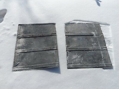 """2 Vintage Tri-Panel Tin Roofing Sheets 22.75"""" x 16.5"""" Barn Salvage"""