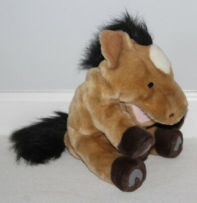 "Horse Plush Hand Puppet Aurora Pony 12"" Brown Black Mane Tail Horseshoes CUTE"