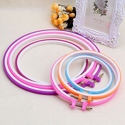 Gn- Eg_ Plastic Cross Stitch Machine Adjustable Embroidery Hoop Ring Sewing Earn