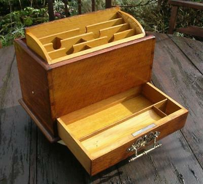 Antique Edwardian Stationery Box. Oak. Rising Stationery Box  C.1910. (62)