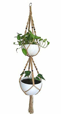Macrame Plant Hanger & Holder, Hanging Planter 4 Legs Double Deck For 8 inch to