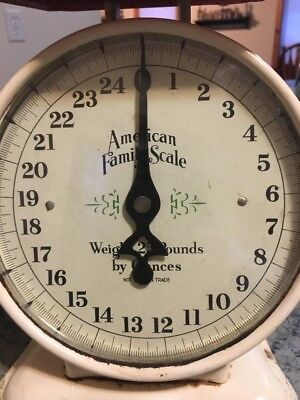 "Vintage Metal ""American Family Scale"" ~ 25 lb Kitchen Counter ~Very Nice, Works!"
