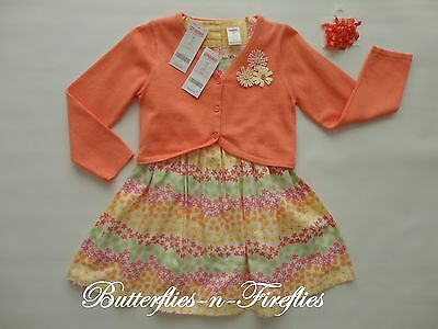 New NWT Gymboree FRESHLY PICKED 3pc Outfit Set Dress Cardigan Hair Bows Girls 5T