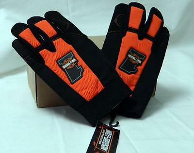 Official Harley Davidson #1 Racing Gloves! Mechanic Adjustable Velcro- Free Ship