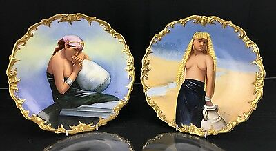 Fine Pair Of Antique French Limoge Porcelain Egyptian Nude Women Plates Signed