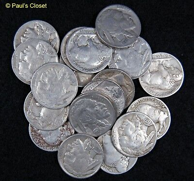 1920-38~USA Old Buffalo Nickel Coins~ Readable Dates~20 Coins~Mix Dates & Mints