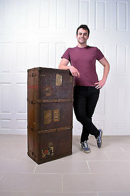 Antique Victorian Steamer Trunk Wardrobe New York Travel Chest Luggage Table