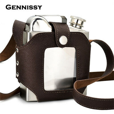 NEW GENNISSY 18ZO Stainless PU Leather Holster Sheath Large Capacity with Funnel