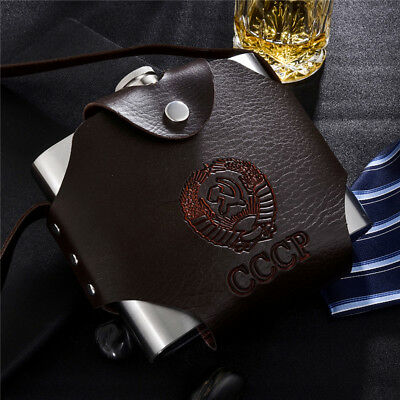 NEW Hip Flask Stainless Steel PU Leather Holster Sheath LargeCapacity withFunnel