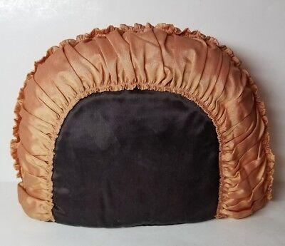 Antique English Tea Cosy/cozy - Black & Orange Padded With Ruching - Nice!