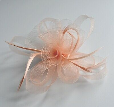 Latte/gold/caramel or nude/salmon pink/peach net & feather fascinator hair clip