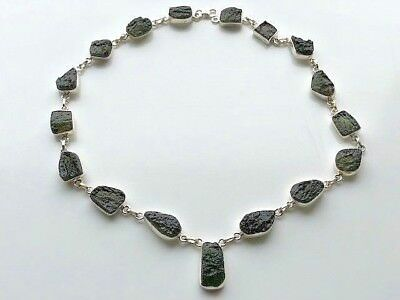 Beautiful Moldavite Setted Silver Necklace~ Pure Energy ~ High Vibration ~ 44gm