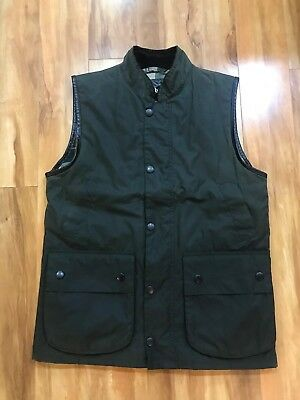 BARBOUR WESTMORLAND VEST OLIVE SYLKOIL WAXED COTTON Made in UK US S EU 42 $279
