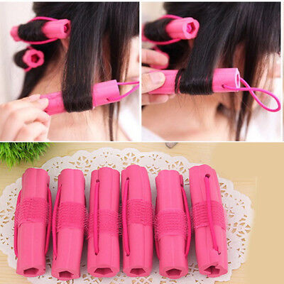 HK- 6Pcs DIY Styling Hair Rollers Curler Makers Soft Foam Twist Curls Tool Braw