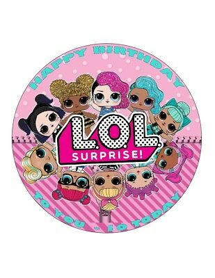 "7.5"" 19cm LOL SURPRISE LOL 1 PERSONALISED WAFER/FONDANT PAPER CAKE TOPPER"