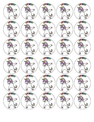 30x 4cm UNICORN DAB PERSONALISED EDIBLE WAFER/FONDANT PAPER CUP CAKE TOPPERS
