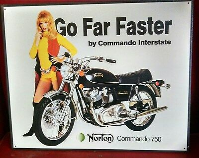 NORTON Commando 750 Interstate  Motorcycle with 70's GIRL  -  OLD Tin Sign Repro