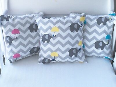 "12"" Handmade Cushion Cover Blue Elephants And Grey Chevron Boys 💙"