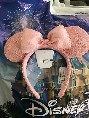 New Millennial Pink Minnie Mouse Bow Sequins Ears