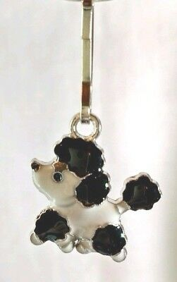 Black & White Parti Poodle Dog Enamel Zipper Pull Bag Purse Charm Dangle Jewelry