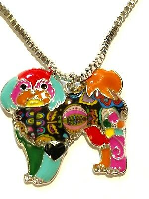 Lhasa Apso Dog Pup Chain Pendant Necklace Multicolor Alloy Jewelry