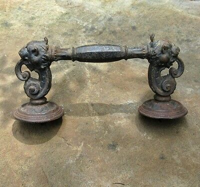 Antique French Cast Iron Door Handle / Pull, Lion's Head