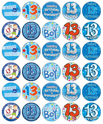 30 X 13th Birthday Boy Blue Cupcake Toppers Edible Wafer Paper Fairy Cake Topper