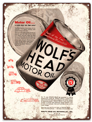 Wolf Head oil Can Gas Pump Garage Baked Metal Repro Sign 9x12 60181